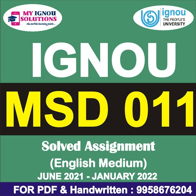MSD 011 Solved Assignment 2021-22