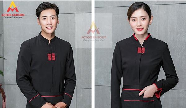 Đồng phục phục vụ màu đen đỏ