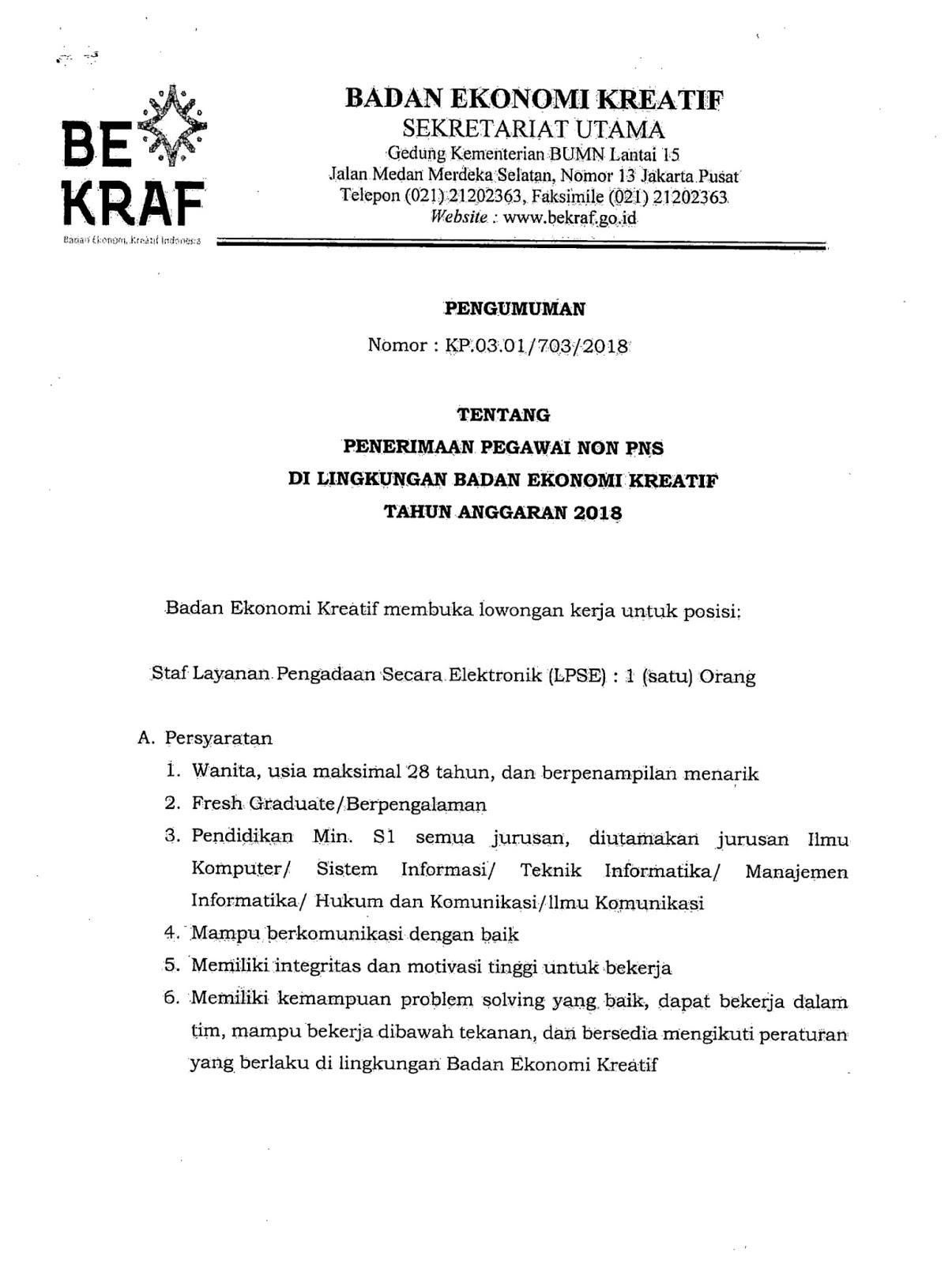 Lowongan Kerja   Non PNS Badan ekonomi kreatif    Oktober 2018