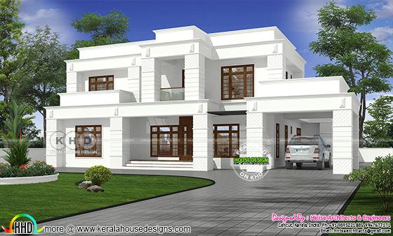 Colonial model house rendering in pure white paint