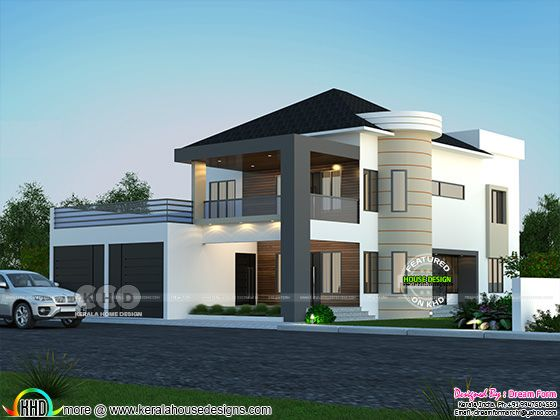 Mixed roof contemporary style house rendering
