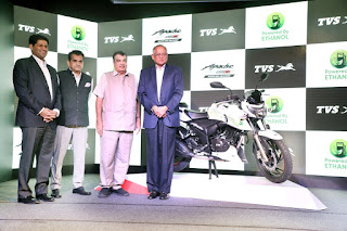 TVS Motor Company launches India's first Ethanol based motorcycle - TVS Apache RTR 200 Fi E100