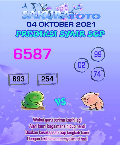 sakura SGP Senin 04 Oktober 2021