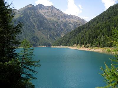 blue green mountain lake