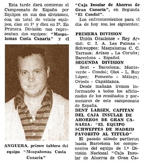 Jaume Anguera en el Diario de Las Palmas, 25/6/1975