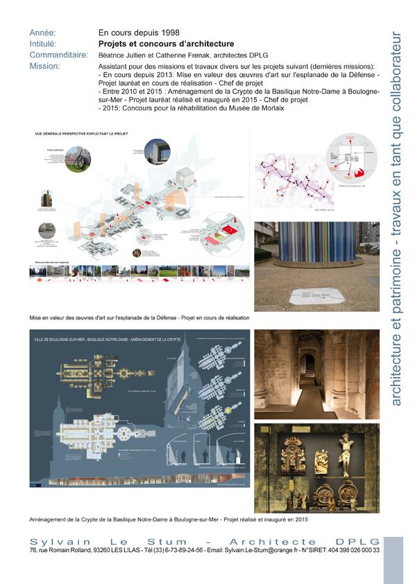 Sylvain le stum architecte travaux en tant que collaborateur for Collaborateur d architecte onisep
