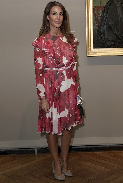 Danish Princess Marie wore a rose-print ruffled silk dress from Giambattista Valli. Princess Marie wore Giambattista Valli floral print silk dress