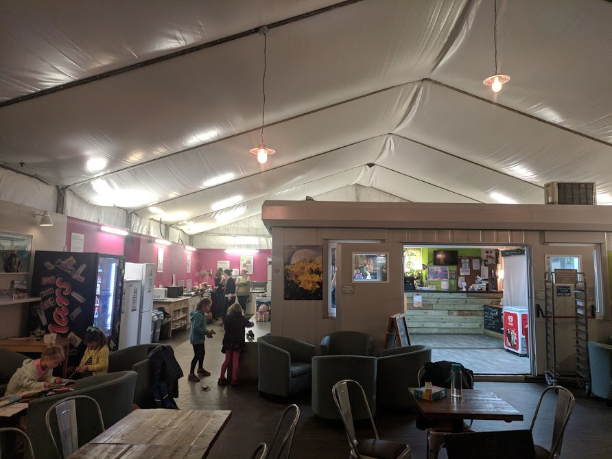 Staying in a Recycled Shipping Container at The Eden Project - YHA Eden Project Review  - YHA Eden Project communal area / bar