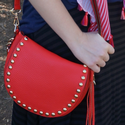 Rebecca Minkoff unlined saddle bag in cherry red with striped maxi skirt | awayfromtheblue