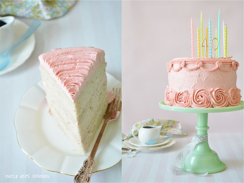 Strawberry Cake, Rosette Cake, Pink Birthday Party Cake, Rainbow Candles