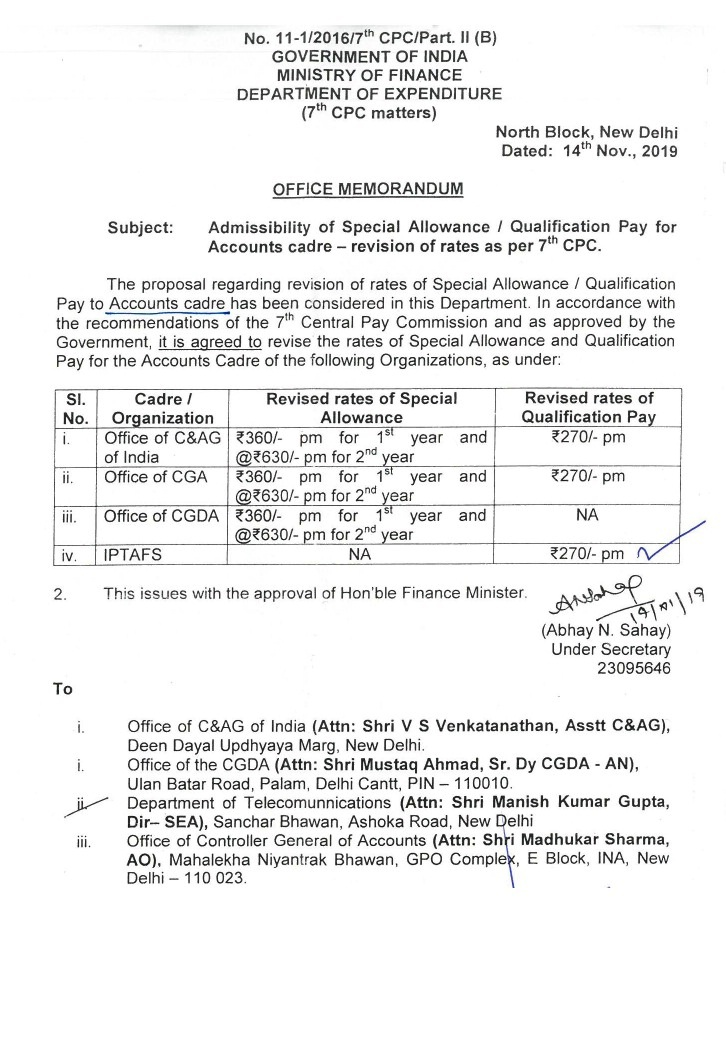 special allowance to accountant