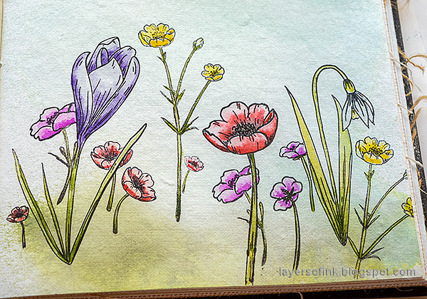 Layers of ink - Thoughtful Flowers Watercolor Garden Tutorial by Anna-Karin Evaldsson. Simon Says Stamp Thoughtful Flowers stamp set. Watercolor the poppies, buttercups and snowdrop.