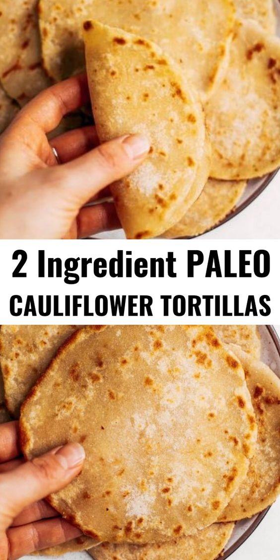 Two Ingredient Paleo Cauliflower Tortillas