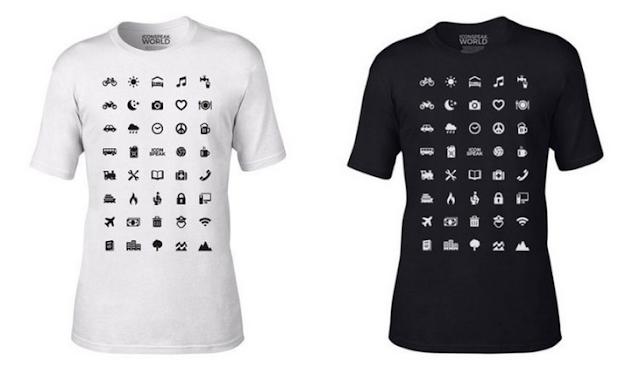 Camiseta con 40 símbolos repartidos por todo la parte frontal, muestra las peticiones más esenciales de cualquier viajero
