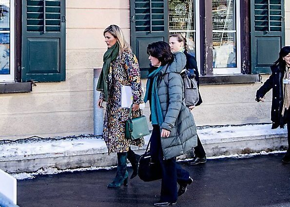 Queen Maxima wore Oscar de la Renta long floral brocade coat, Gucci emerald green pussy-bow blouse and green leather skirt, red dress