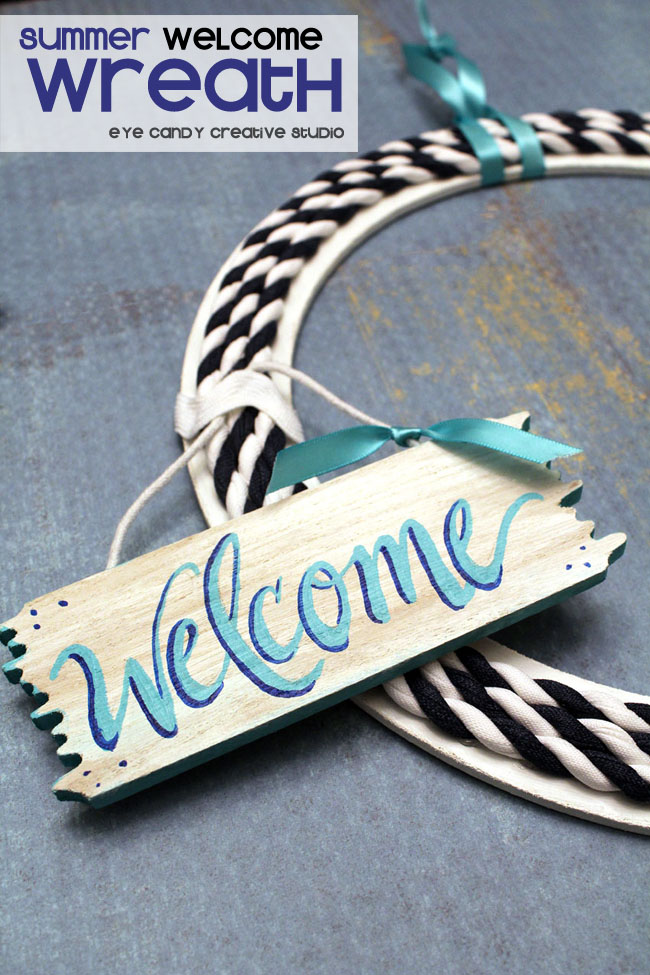 welcome sign, hand lettering, welcome wreath, summer wreath, DIY