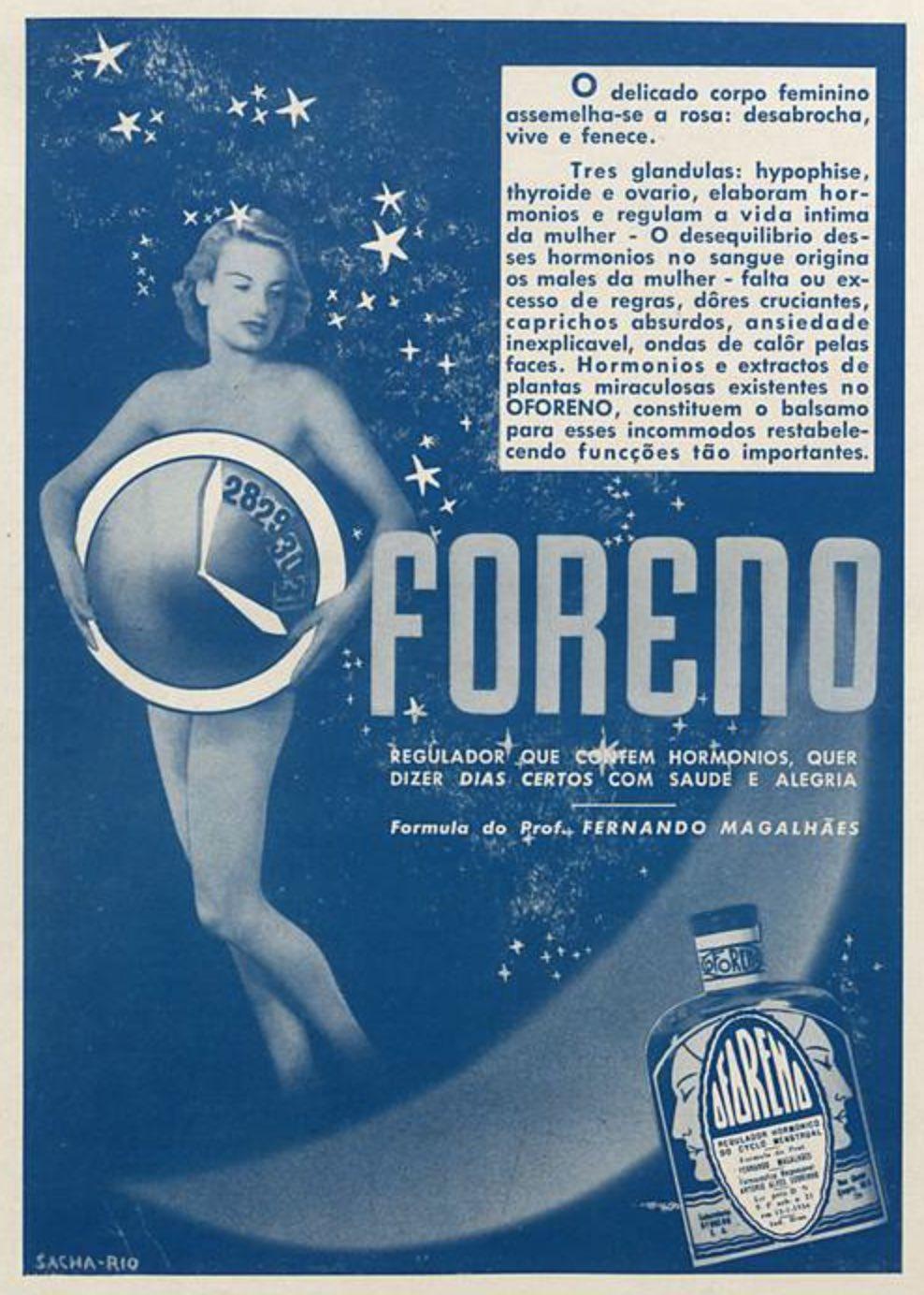 Anúncio antigo de 1940 apresentando o regulador hormonal feminino Oforeno