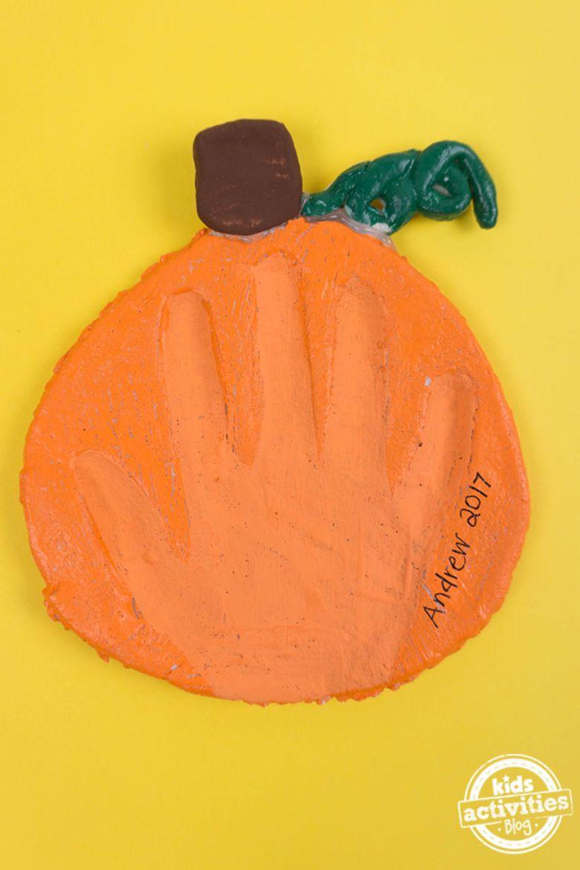 pumpkin salt dough handprint