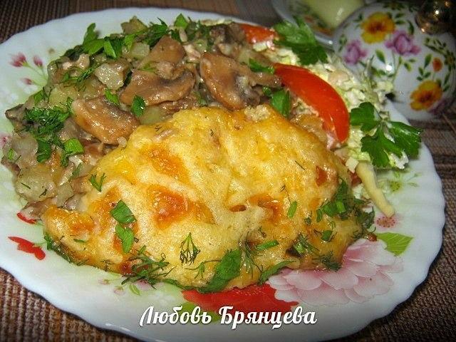 мясо грибы и картофель запеченные в духовке