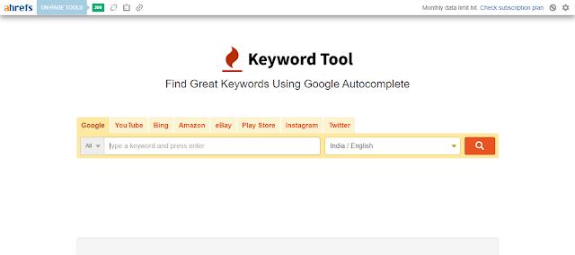 Keywordtool.io free keyword research tool