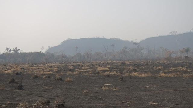 Incêndio devasta parte da vegetação do Parque Serra dos Parecis em Guajará-Mirim