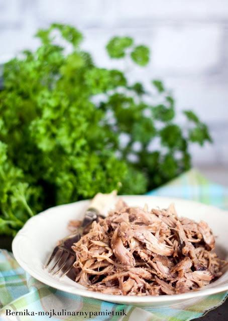 indyk, pulled turkey, rwany indyk, wolno pieczony, dlugo pieczony indyk, obiad, dietetycznie, mieso, bernika, kulinarny pamietni