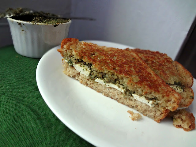 Mozzarella and Pesto Grilled Cheese