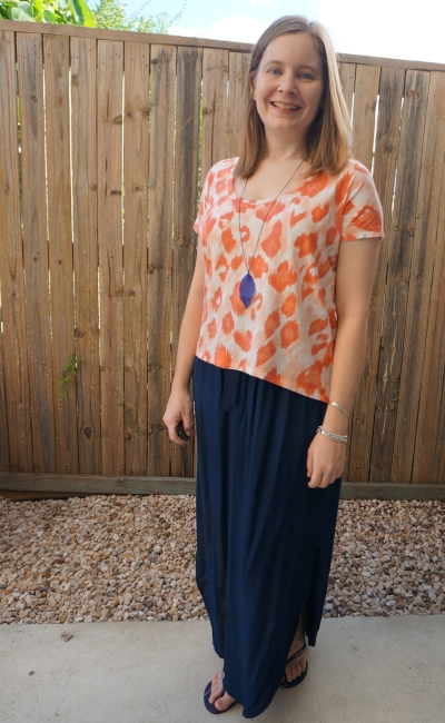 Sass and Bide 'New Day Rising' tee in orange leopard print with navy thrifted maxi skirt | awayfromblue