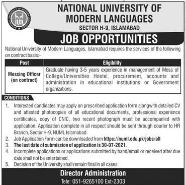 numl.edu.pk Jobs 2021 - National University of Modern Languages (NUML) Islamabad Jobs 2021 in Pakistan