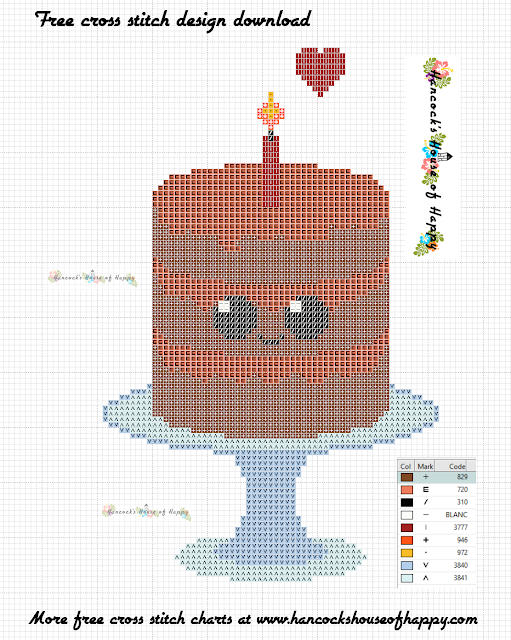 Free Cute Kawaii Chocolate Cake Cross Stitch Pattern to Download