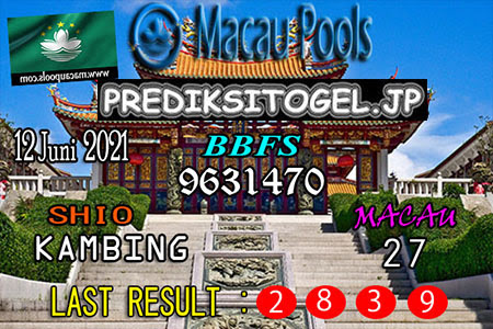 Prediksi Wangsit Togel Macau Sabtu 12 Juni 2021