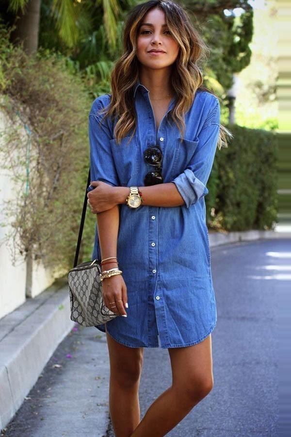 woman in denim shirt dress