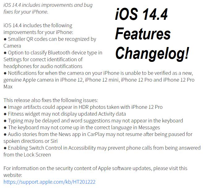 iOS 14.4 Features