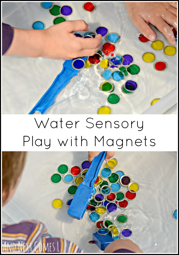 Simple colorful sensory bin play for kids using water and magnets from And Next Comes L