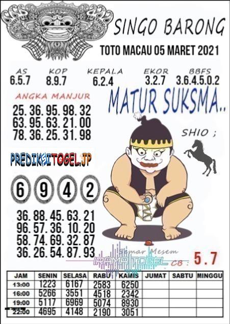 Syair Top Singo Barong Toto Macau Jumat 05 Maret 2021