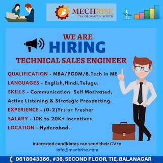 Mechrise Transforming Growth Hiring Technical Sales Engineer Qualifications MBA/PGDM/B.Tech in ME