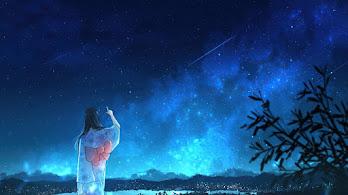 Anime, Girl, Kimono, Night, Sky, Scenery, 4K, #6.2592
