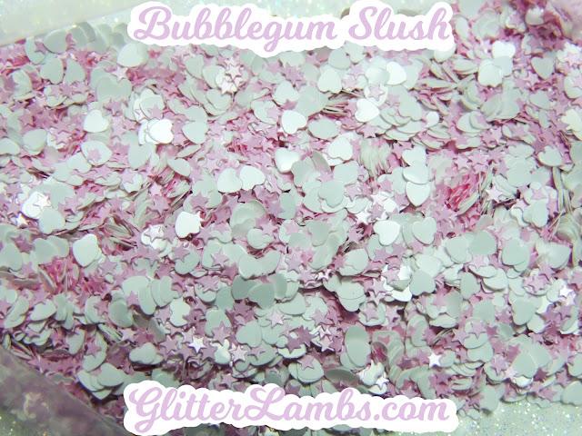 "Glitter Lambs ""Bubblegum Slush"" Loose Glitter Mix Craft Glitter Nail Art Glitter Mini Pink Stars And White Hearts Glitter"