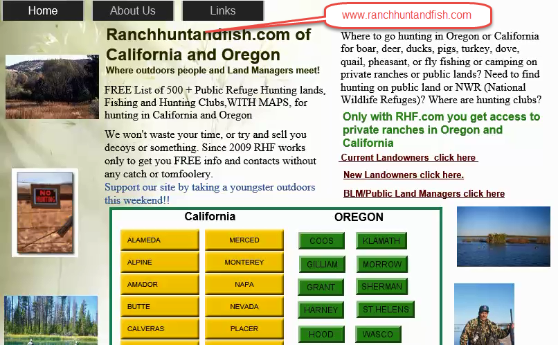 private hunting clubs and public hunting areas california and oregon