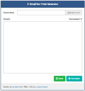 Gmail Account Generator Trick