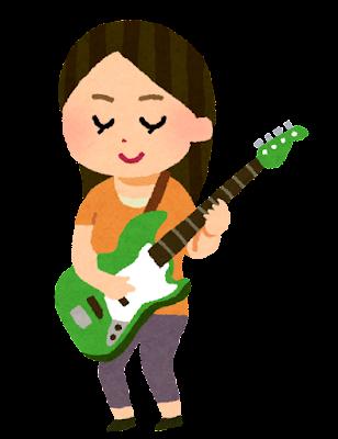 ベースを弾く人のイラスト(女性)