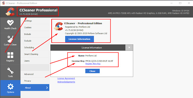 CCleaner Professional 5.75.8238 License Key