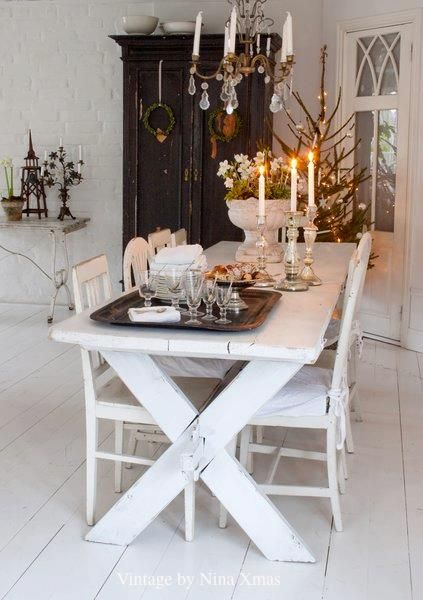 Swedish Farmhouse Christmas Decorating Interior Design white dining room