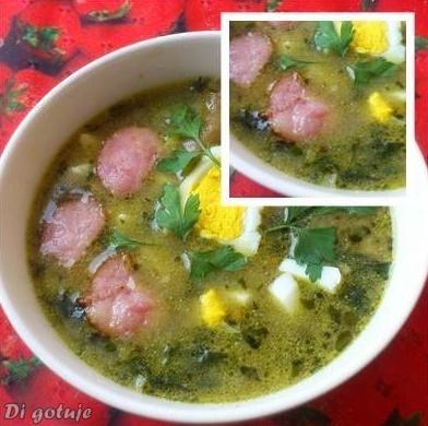 Zupa z pokrzywy (z kiełbasą i jajkiem)