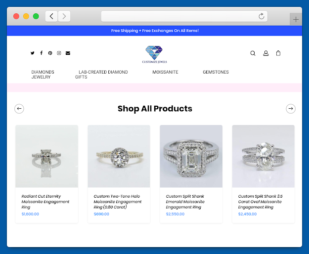 Customize Jewels Company Ecommerce Website Design