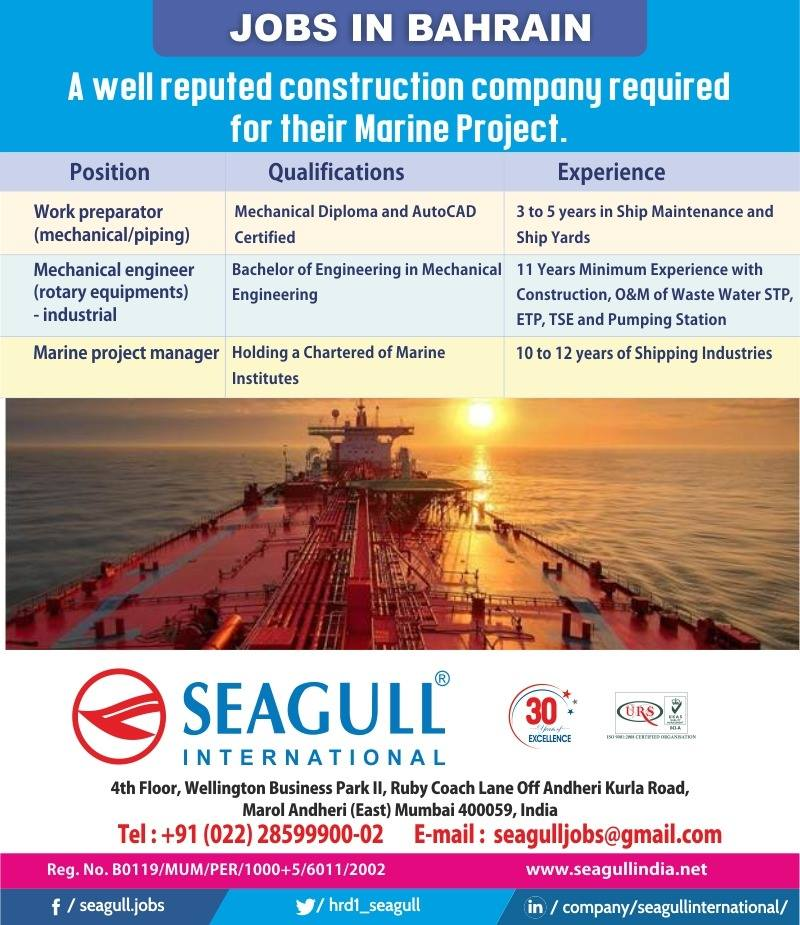Required for Construction Company-Jobs In Bahrain-Marine Project