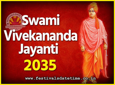 2035 Swami Vivekananda Jayanti Date & Time, 2035 National Youth Day Calendar