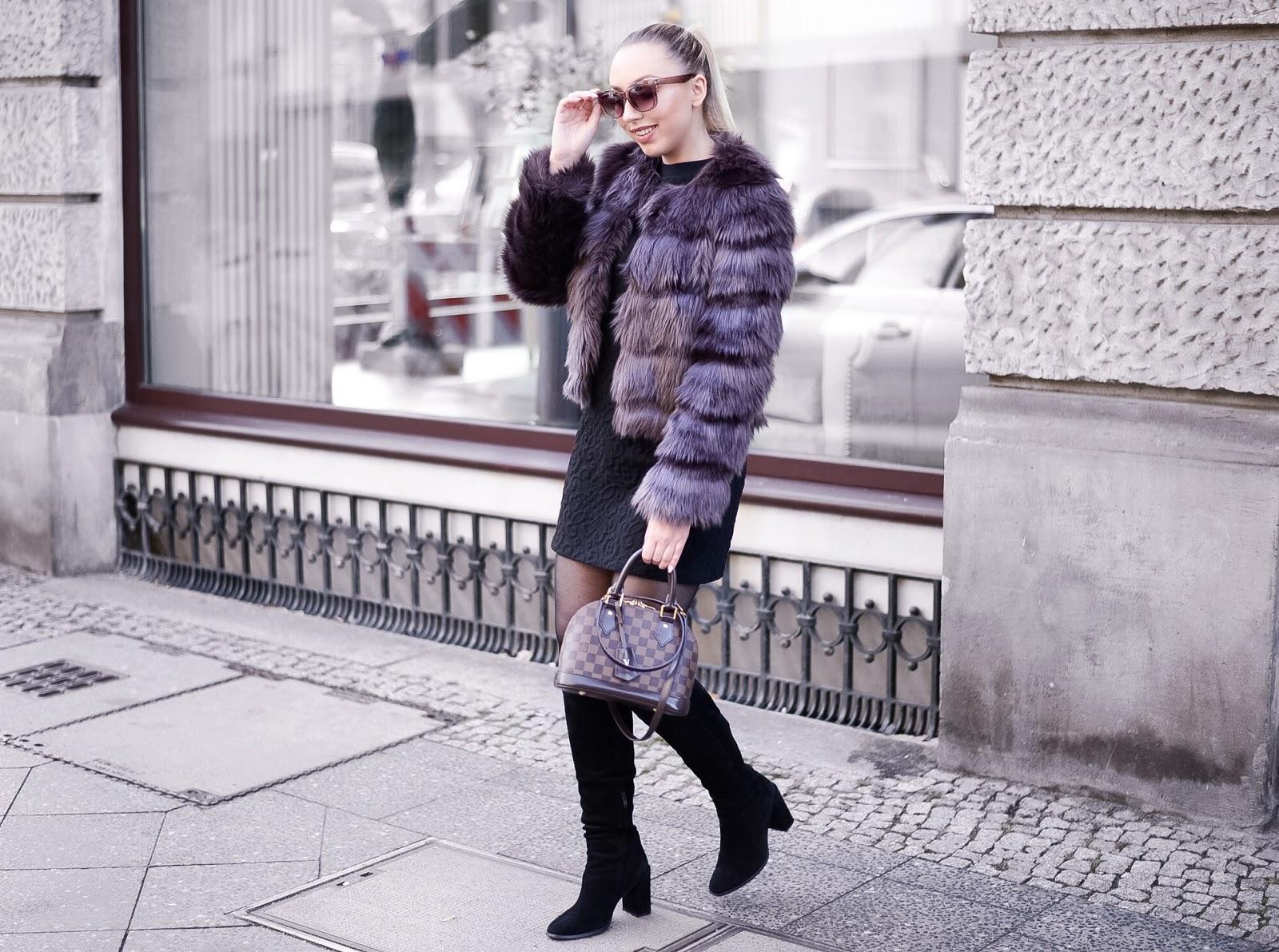zara knee high boots_faux fur jacket