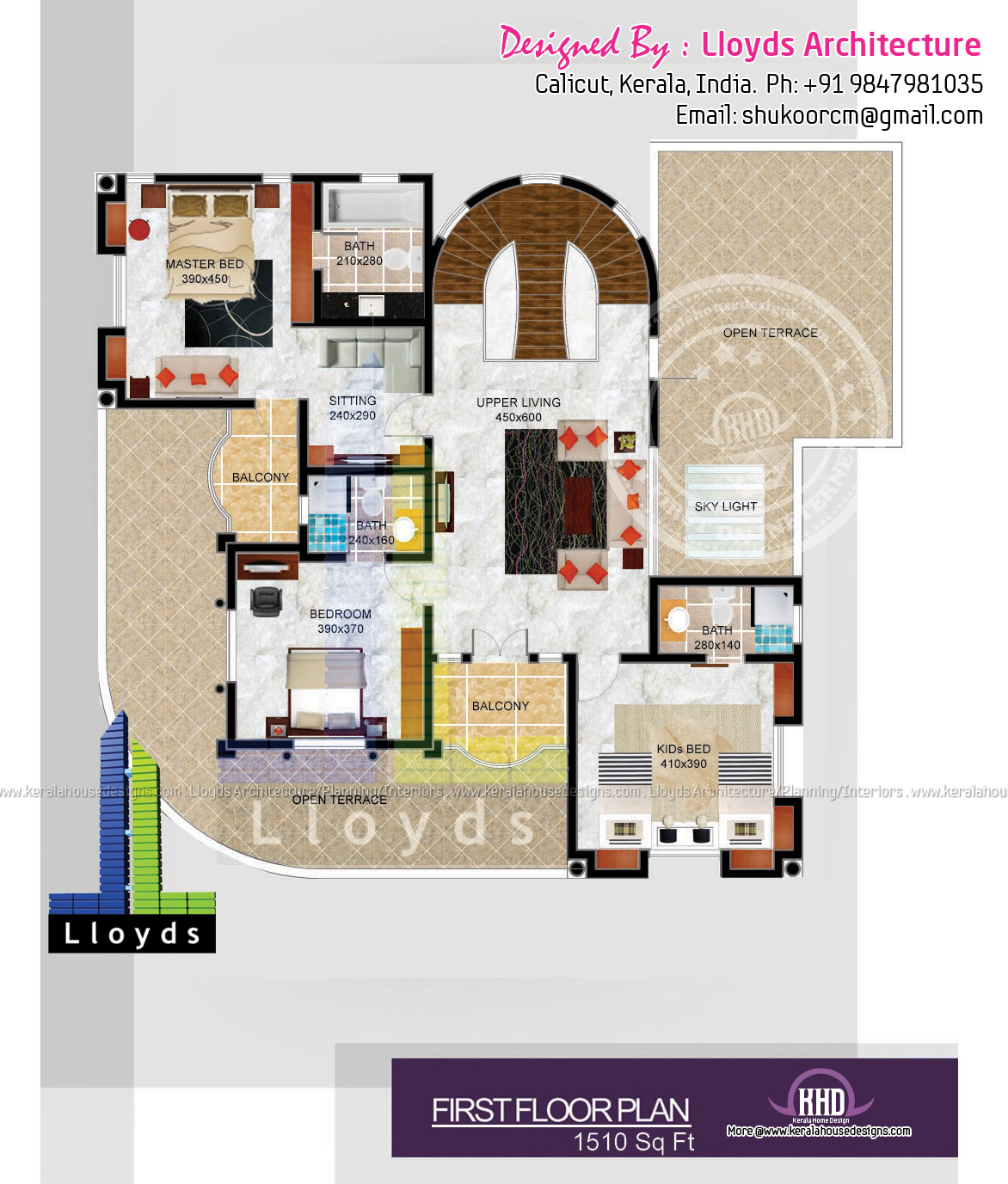 5 bedroom luxurious bungalow floor plan and 3d view for Plan of bungalow in india