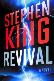 Cover of Revival by Stephen King showing the title and a bolt of lightning